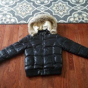 Justice girls black puffer winter coat sz 8